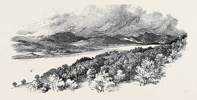Ambleside Wall Art - Drawing - Windermere, From The Road Between Bowness And Ambleside by English School