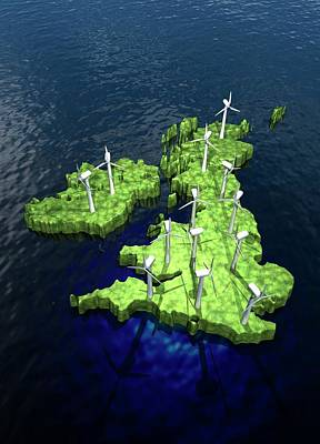 Windfarms On British Isles Art Print by Victor Habbick Visions