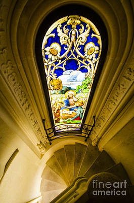 Portugal Photograph - Winding Chapel Stairs And Stained Glass by Deborah Smolinske