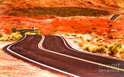 Photograph - Winding Road In Valley Of Fire - Painterly by Les Palenik
