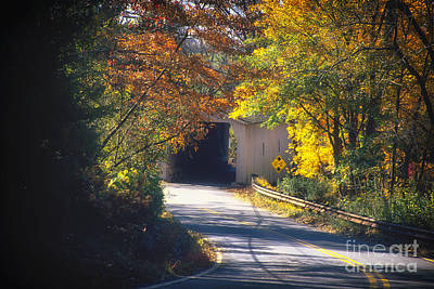 Winding Road With Covered Bridge Art Print