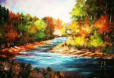 Painting - A Winding Stream In Autumn Light by Al Brown