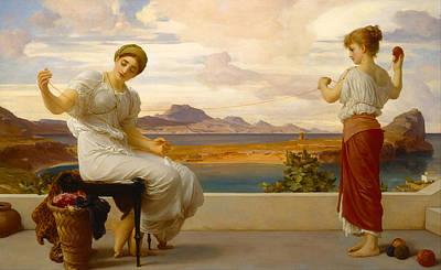 Frederic Leighton Painting - Winding The Skein by Frederic Leighton
