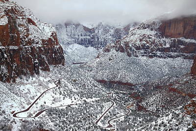 National Park Photograph - Winding Winter Road At Zion National Park by Jetson Nguyen