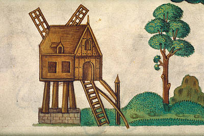 Gristmill Painting - Windmill, 1525 by Granger