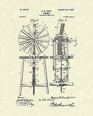 Drawing - Windmill 1899 Patent Art by Prior Art Design