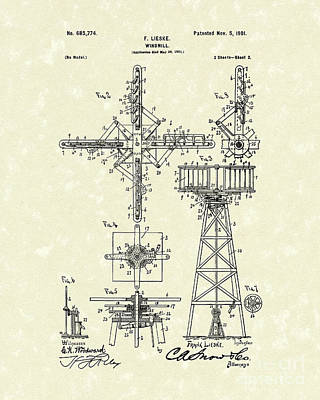 Drawing - Windmill 1901 Patent Art by Prior Art Design