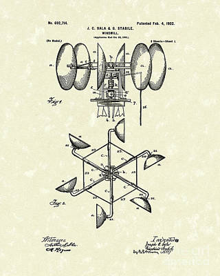 Drawing - Windmill 1902 Patent Art by Prior Art Design