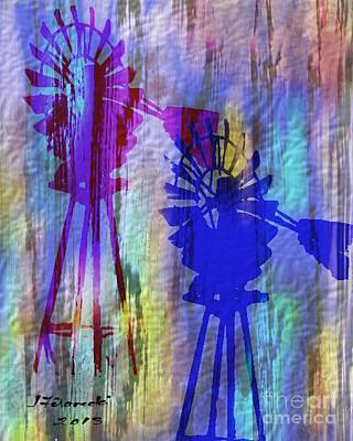 Windmill Abstract Painting Art Print by Judy Filarecki
