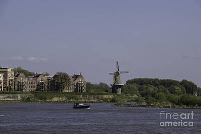 Windmill And Boat Somewhere Along The Rhine Art Print