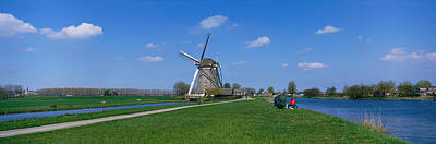 Landscape Netherlands Photograph - Windmill And Canals Near Leiden The by Panoramic Images