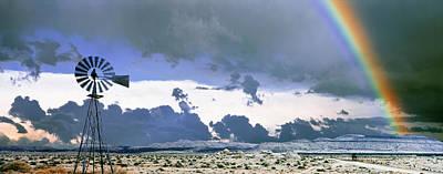 Windmill And Rainbow, Mojave National Art Print
