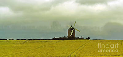 Windmill And Rapeseed And Storm Art Print