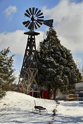 Photograph - Windmill And Wagon by Ken Smith