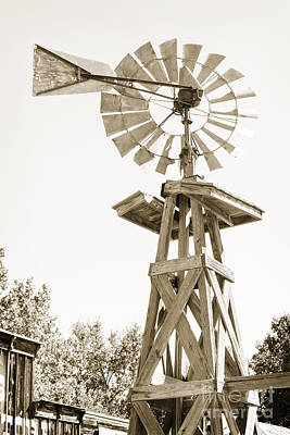 Photograph - Windmill Antique In Sepia Black And White 3005.01 by M K Miller