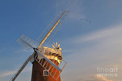 Windmill Photograph - Windmill At Dusk On The Norfolk Broads In Autumn by Louise Heusinkveld