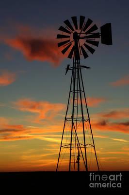 Photograph - Windmill At Sunset 1 by Jim McCain
