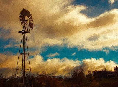 Windmill At Sunset Art Print by John K Woodruff