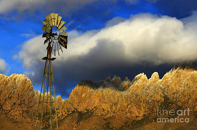 Windmill At The Organ Mountains New Mexico Print by Bob Christopher