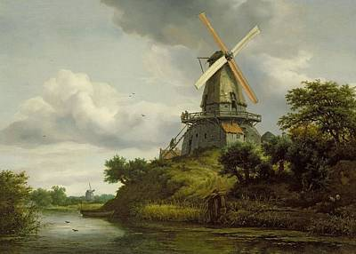Bank Clouds Hills Painting - Windmill By A River by Jacob Isaaksz or Isaacksz van Ruisdael