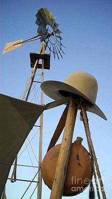 Photograph - Windmill Canteen And Cowboy Hat 1 by Cindy New