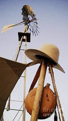 Photograph - Windmill Canteen And Cowboy Hat 2 by Cindy New