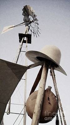 Photograph - Windmill Canteen And Cowboy Hat 3 by Cindy New