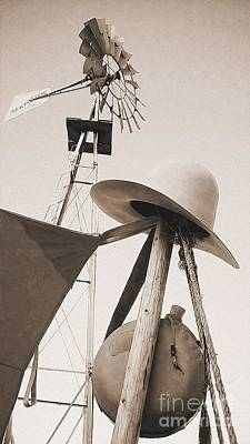 Photograph - Windmill Canteen And Cowboy Hat 4 by Cindy New