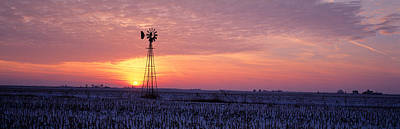 Thawing Photograph - Windmill Cornfield Edgar County Il Usa by Panoramic Images
