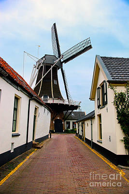Hall Photograph - Windmill Historic Small Village In Netherlands by Michal Bednarek