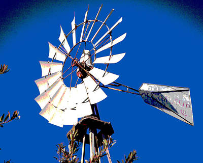 Photograph - Windmill In A Blue Sky Abstract Fine Art Photography Print by Jerry Cowart