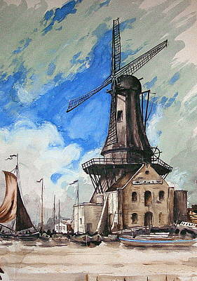 Painting - Windmill In Holland by Val Byrne