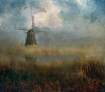 Windmill In Mist Art Print