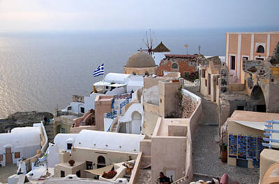 Windmill In Oia Santorini Art Print