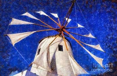 Painting - Windmill In Oia Town by George Atsametakis