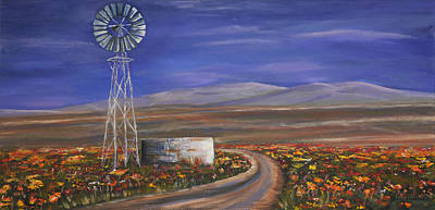 Karoo Painting - Windmill In The Karoo by Deidre Howarth