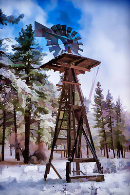 Windmill In The Snow Impressionistic Art Print by Scott Campbell