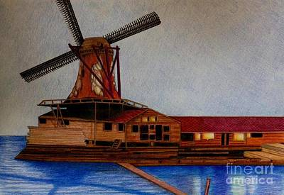 Animals Drawing - Windmill by JL Vaden