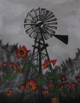 Texas Drawing - Windmill by Jodi Dougherty