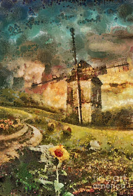 Vintage Oil Painting - Windmill by Mo T