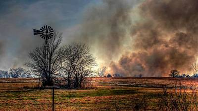 Windmill On A Burning Field Art Print