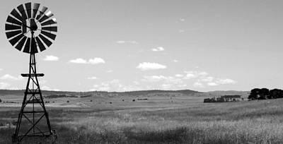 Windmill On The Plains - Black And White Art Print by Kaleidoscopik Photography