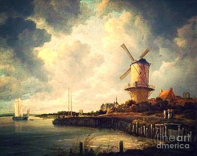 Photograph - Windmill Painting by John Potts