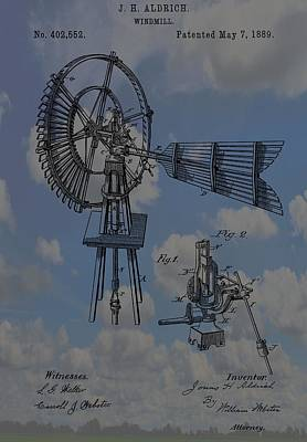 Development Digital Art - Windmill Patent Blue Skies by Dan Sproul