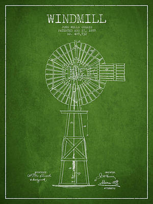 Windmill Digital Art - Windmill Patent Drawing From 1889 - Green by Aged Pixel