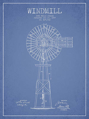 Digital Art - Windmill Patent Drawing From 1889 - Light Blue by Aged Pixel