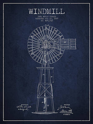 Windmill Patent Drawing From 1889 - Navy Blue Art Print