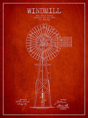 Windmill Digital Art - Windmill Patent Drawing From 1889 - Red by Aged Pixel