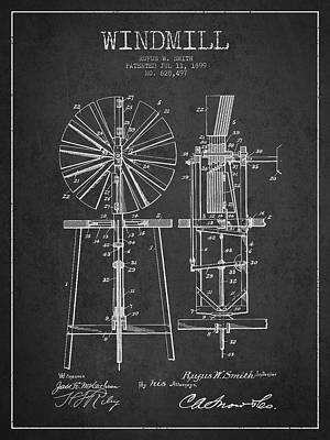 Digital Art - Windmill Patent Drawing From 1899 - Dark by Aged Pixel