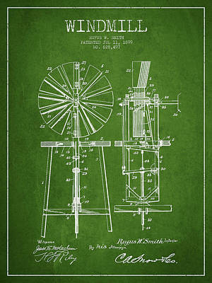 Digital Art - Windmill Patent Drawing From 1899 - Green by Aged Pixel